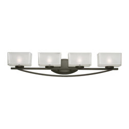 4 Light Frosted White Inside And Clear Outside Glass Glass Painted Bronze Vanity - A set of four vanity lights displayed in square cube glass shades frosted white inside and clear outside, with a bronze finish for a fresh and modern look.