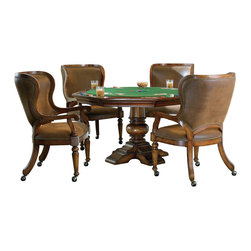 """Hooker Furniture - Waverly Place Reversible Top Poker Table - White glove, in-home delivery included!  Table only.  Reversible top with poker felt on one side, wood surface on the other, storage under top.   Distance from floor to bottom of Apron: 26""""  Felt liner: 45 3/4"""" dia."""