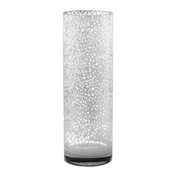 """Carrie Gustafson - Dahlia Vase - The artist Carrie Gustafson uses the sandblasting technique to inscribe a Dahlia flower pattern on this opeque white blown glass vase. Available in  9""""x3.5"""". Care instructions: Hand wash. Made in USA"""