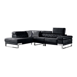 VIG Furniture - Arden Black Ultra Plush Black Leather Sectional Sofa With Adjustable Headrests - The Arden sectional sofa will be a great addition to any living room decor that need's a touch of modern design. This sectional comes upholstered in a unique ultra plush black leather that has a feel of fabric like design. High density foam is placed within the cushions for that extra added comfort. This sectional features a tufted design on the backrests and adjustable headrests. Attached to the bottom are stainless steel legs with a polished finish.