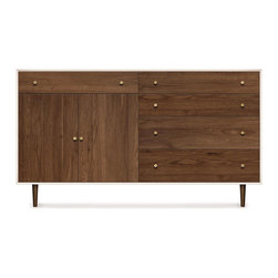 Copeland Furniture - Copeland Furniture Mimo 4 Drawer On Right, 1 Drawer Over 2 Doors On Left Dresser - The MiMo 4 drawers on right, 1 drawer over 2 doors on left dresser is crafted in solid maple hardwood with white finish and American black walnut hardwood.
