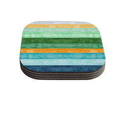 "Kess InHouse - Monika Strigel ""Beach Wood Blue"" Coasters (Set of 4) - Now you can drink in style with this KESS InHouse coaster set. This set of 4 coasters are made from a durable compressed wood material to endure daily use with a printed gloss seal that protects the artwork so you don't have to worry about your drink sweating and ruining the art. Give your guests something to ooo and ahhh over every time they pick up their drink. Perfect for gifts, weddings, showers, birthdays and just around the house, these KESS InHouse coasters will be the talk of any and all cocktail parties you throw."