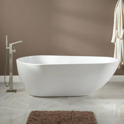 """73"""" Wyandotte Acrylic Freestanding Tub - With its dynamic, egg-shaped design and exceptionally thin walls, the Wyandotte Freestanding Acrylic Tub beckons you into a soothing soak."""