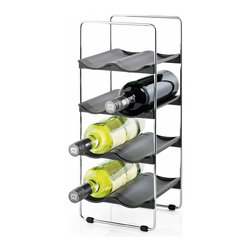 Blomus - Vinedo Wine Rack - The Vinedo chrome plated wire Wine Rack by Blomus stores 8 bottles of wine or other desired beverages firmly on the pre-shaped and removable plastic shelves. This wire rack allows proper storage especially for red wines which need the cork to stay moist.
