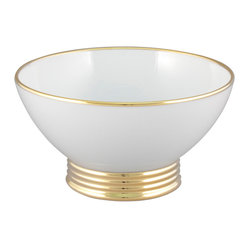 Maison Alma - Arienne Dip And Nut Bowl, White & 24k Gold - Great for serving candy or nuts — or just adorning your coffee table — this Limoges porcelain footed bowl gleams with 24-karat gold or platinum around the rim and ridged base. Treat yourself — and your guests — like royalty.