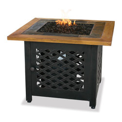 Uniflame - Lp Gas Outdoor Firebowl With Slate And Faux Wood Mantel - Lp Gas Outdoor Firebowl w/ Slate And Faux Wood Mantel belongs to Outdoor Living Collection by Uniflame