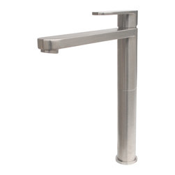 Reach Classic Vessel Faucet - Brushed Nickel - The Reach Classic vessel faucet by Eden Bath has a towering presence, the tall body and long but low profile spout gives it a hybrid aesthetic between classic and modern. This faucet is ideal for larger sinks that require a faucet with greater than average spout reach, to ensure the water falls properly into the sink. The faucet is crafted from solid brass and features a ceramic disc cartridge and durable finish.