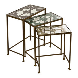 Old World Rustic Nested Tables - Set of 3 - *Rustic And Shabby Chic , Set Of 3 ,Iron Nesting Tables Each With Unique Pastel Design