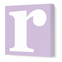 """Avalisa - Letter - Lower Case 'r' Stretched Wall Art, 28"""" x 28"""", Lilac - Spell it out loud. These lowercase letters on stretched canvas would look wonderful in a nursery touting your little one's name, but don't stop there; they could work most anywhere in the home you'd like to add some playful text to the walls. Mix and match colors for a truly fun feel or stick to one color for a more uniform look."""