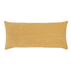 Pine Cone Hill - chambray linen flax decorative pillow (15x35) - The chambray linen duvet covers, shams and decorative pillowsare a rich, color-drenched linen that is machine-washable and available in 6 versatile solid colors. Duvets and shams feature knife edge, hidden-button closure.��This item comes in��flax.��This item size is��35w 15h.
