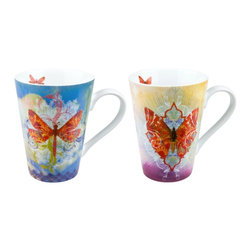Konitz - Set of 4 Walter Mugs - 2 Butterfly, 2 Dragonfly - The Walter Butterfly & Dragonfly Mugs feature a dazzling kaleidoscope of color. Butterfly and dragonfly fly over a background of rainbow colors.