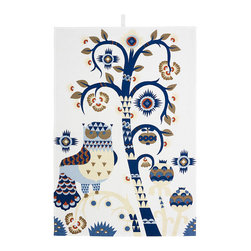 "iittala Taika Tea Towel 18.5 X 27.5"" White - Iittala Taika is part of the whimsical Taika series, illustrated by Klaus Haapaniemi for Iittala in 2007. Available in white, blue and black the design draws upon folklore for a fanciful design that is visually stunning. Taika means 'magic' in Finnish and the classic forms designed by Heikki Orvola combine well with other Iittala collections, brings a playful magic to your table."
