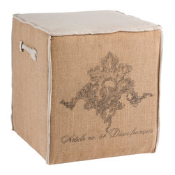 """Aidan Gray - Aidan Gray Furniture Article No. 54 Cube - The perfect size for extra seating, this burlap with linen accent cube is the ideal seat height, allowing it to be tucked under a table and pulled out when extra seating is needed. Dimensions 20""""T x 18""""W x 18""""D"""
