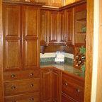"Schrock - Showroom displays - Cabinetry is Schrock Parker, ""Brierwood"" on Cherry"