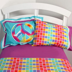 One Grace Place - Terrific Tie Dye Sheet Set Multicolor - 10-34014 - Shop for Sheets from Hayneedle.com! Your little one is bright and cheery so why not get the Terrific Tie Dye Sheet Set to match her personality? This durable cotton sheet set features a bold and colorful square pattern that pulls the whole room together. The coordinating pillowcase and purple accents are just the right touches. Available in twin or full.Sheet set components:Twin: 1 fitted sheet 1 flat sheet 1 pillowcaseFull: 1 fitted sheet 1 flat sheet 2 pillowcasesFlat sheet dimensions:Twin: 70W x 90L inchesFull: 85W x 96L inchesFitted sheet dimensions:Twin: Made to fit standard 39W x 75L inch mattressFull: Made to fit standard 54W x 75L inch mattress