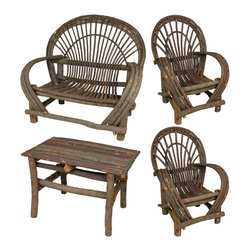 Rustic Twig Furniture Set With Bark - 4 Piece - This rustic bent twig furniture patio set is perfect for any cabin, log home porch, patio or yard. Durable and functional, it can be used indoors or outdoors and will last a lifetime with the right care. This 4 piece twig furniture set comes with two chairs, a loveseat and small table. Dimensions:
