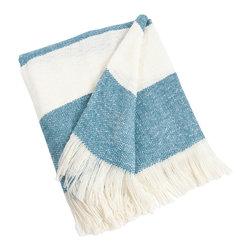 Saro - Striped Throw, Aqua - Striped Throw, Aqua