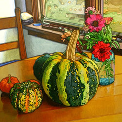 Autumn Harvest Artwork - Various winter squashes on the kitchen table.