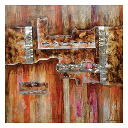 Yosemite Home Decor - Burnished I Art - Add this painting to your home decor to brighten up any room. This abstract piece is painted with rust, fuchsia, red silver and beige paints and has metal nuts, washers and silver pieces of foil that add another dimension. This painting is hand stretched on canvas and ready for wall mounting.