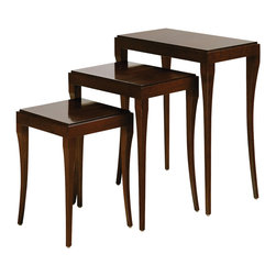 Baker Furniture - Les Folies Nest of Tables - Stackable tier tables, each featuring a Santos rosewood veneer top. The legs are very graceful and curve outward. They can be used together or separately, next to a sofa or as dessert tables.