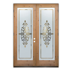 "Glass Doors - Frosted Glass Front Entry Doors - BARCELONA NEG Knotty Alder - Glass Front Entry Doors that Make a Statement! Your front entry door is your home's initial focal point and glass front doors by Sans Soucie with frosted, etched glass designs create a unique, custom effect while providing privacy AND light thru exquisite, quality designs!  Available any size, all glass front doors are custom made to order and ship worldwide at reasonable prices.  Exterior entry door glass will be tempered, dual pane (an equally efficient single 1/2"" thick pane is used in our fiberglass doors).  Selling both the glass inserts for front doors as well as entry doors with glass, Sans Soucie art glass doors are available in 8 woods and Plastpro fiberglass in both smooth surface or a grain texture, as a slab door or prehung in the jamb - any size.   From simple frosted glass effects to our more extravagant 3D sculpture carved, painted and stained glass .. and everything in between, Sans Soucie designs are sandblasted different ways creating not only different effects, but different price levels.   The ""same design, done different"" - with no limit to design, there's something for every decor, any style.  The privacy you need is created without sacrificing sunlight!  Price will vary by design complexity and type of effect:  Specialty Glass and Frosted Glass.  Inside our fun, easy to use online Glass and Entry Door Designer, you'll get instant pricing on everything as YOU customize your door and glass!  When you're all finished designing, you can place your order online!   We're here to answer any questions you have so please call (877) 331-339 to speak to a knowledgeable representative!   Doors ship worldwide at reasonable prices from Palm Desert, California with delivery time ranges between 3-8 weeks depending on door material and glass effect selected.  (Doug Fir or Fiberglass in Frosted Effects allow 3 weeks, Specialty Woods and Glass  [2D, 3D, Leaded] will require approx. 8 weeks)."