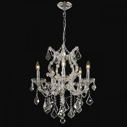 Maria Theresa 6 Light Chrome Glass and Crystal Chandelier 20 x 25 - Enhance your decor and add regal elegance with the Maria Theresa Collection by Elegant Lighting. Inspired by European ballrooms and mansions, this grand collection features lavishly crystal-trimmed chandeliers and wall lighting in a wide assortment of sizes, finishes, and crystal options. Every detail of this item is as exquisite as its inspiration.