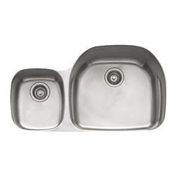 """Franke - Prestige 35"""" Stainless Steel Double Bowl Kitchen Sink - Features of Double Bowl Kitchen Sink: -Prestige collection. -18 Gauge stainless steel construction. -Large Deep bowl with integral ledge for shelf grid. -Undermount installation. Specifications: -Minimum cabinet size: 39"""". -Left bowl dimensions: 9.063"""" H x 21.25"""" W x 18.938"""" D. -Right bowl dimensions: 5.875"""" H x 11.813"""" W x 13.375"""" D. -Overall dimensions: 9.063"""" H x 35.625"""" W x 20.438"""" D. Features of Colander: -Available in black or white finishes. Features of Lotion Dispenser: -Available in chrome, polished nickel, satin nickel or brass finishes. -Convenient dispensing for detergent, hand soap or lotion. -Head connects to a 17oz container that refills from above the sink. -Manufacturer provides 5 year warranty against manufacturing defects. Features of Grid: -Prestige collection. -Chrome. Features of Basket: -Prestige collection. -Chrome finish. -Includes removable plate rack. Features of Shelf Grid: -Prestige collection. -Available in chrome or stainless steel finishes. Features of Inox Creme: -Polish for stainless steel sinks. -Spread cream on a damp cloth, rub lightly onto object and allow to set. Then rinse off with water and polish with dry cloth. -Capacity: 8.5 Oz."""