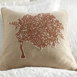 "Coral Embroidered Pillow Cover, 18"" sq. - A coral branch's intricate form and a seashell's soft colors are captured in dense, satiny embroidery on our pillow cover. 18"" square Made of 100% cotton. Reverses to solid natural. Envelope closure. Insert sold separately; down blend or synthetic. Machine wash. Imported."
