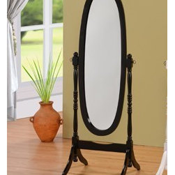 "Asia Direct - Black Finish Wood Free Standing Cheval Floor Mirror - Black finish wood free standing cheval floor mirror. Measures 18"" W x 59"" H. Some assembly required."
