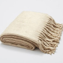 """Faux Mohair Ombre Woven, 50 x 70"""", Taupe - The silky, fluffy feel of mohair is met with a visually soft ombre effect for an exceptionally cozy throw. 50 x 70"""" Made of 100% acrylic. Dry-clean. Imported."""