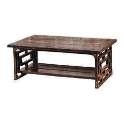 Uttermost - Uttermost Deron Wooden Coffee Table - Deron Wooden Coffee Table by Uttermost Plantation-grown Mango Wood, Planked And Carved In Rubbed Black Finish With Red Wood Undertones And Antique Brass Metal Corner Plates.