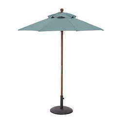 Round Market Umbrella with Eucalyptus Pole, 6', Solid, Fresca Blue - Vibrant, sun-drenched colors make these umbrellas summer favorites. Choose from our three types of poles to help you complement outdoor furnishings. 6' diameter, 7.4' high 9' diameter, 8.25' high Choose eucalyptus, teak or aluminum pole. Wood pole is crafted from eucalyptus or premium teak, and features an easy-to-use pulley system, and three positions for the galvanized-metal locking pin that keeps the umbrella open. Sturdy aluminum pole in bronze finish has an easy-turn crank handle and tilt function. Designed to fit any Pottery Barn outdoor dining table that accommodates an umbrella. Please check umbrella pole diameter if using with other tables. Concrete stand (sold separately) can be used with any of our umbrellas for added stability. Simple assembly. Imported. Natural and Ink Blue are Catalog / Internet only. View our {{link path='pages/popups/fb-outdoor.html' class='popup' width='480' height='300'}}Furniture Brochure{{/link}}.