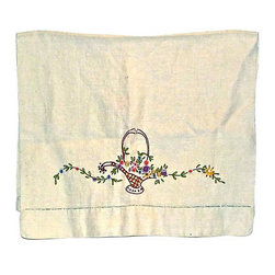 Embroidered Linen Dish Towel - Embroidered floral linen dish towel, a basket of flowers.