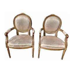 Louis Antique French Chairs - Beautiful pair of French Louis XI Gilt Chairs.They have a nice paitina showing some age which just make them that more special.