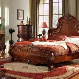 McFerran Home Furnishing - 5 Piece Queen Bedroom Set - B1600-5QSET - This set includes the Queen bed set, 1 - Nightstand, 1 - Dresser, 1 - Mirror and 1 - Chest.