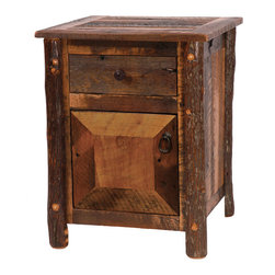 Fireside Lodge - Enclosed Nightstand Barnwood with Hickory Log Legs - A  barnwood  and  hickory  rustic  night  stand  will  make  a  great  addition  to  your  rustic  bedroom  decor.  Built  out  of  recycled  wood  salvaged  from  an  old  barn,  this  aged  wood  nightstand  features  one  drawer  on  top,  and  an  enclosed  storage  space  underneath.  Hide  the  TV  remote,  your  bedtime  reading  materials,  and  even  your  stash  of  belgian  chocolates  inside  of  the  enclosed  compartment.  Concealed  European  hinges  keep  the  look  clean  with  a  simple  iron  drawer  pull  as  the  only  exposed  hardware.                  Dimensions:  22  Wide  x  21.5  Deep  x  27  High              Full  extension  ball  bearing  glides  rated  at  100  pounds              Legs  are  handcrafted  from  kiln-dried  hickory  logs              Oil-rubbed  bronze  finish  on  drawer  pull              Dovetail  drawer  construction              Inset  drawer  and  door  fronts              Clear  catalyzed  lacquer  finish  preserves  and  protects  the  wood              Shipping  weight  =  55  lbs.              Free  shipping              Allow  4-6  weeks  for  delivery