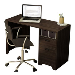 South Shore - South Shore Theory Desk in Mocha - South Shore - Student Desks - 7379795 - This Theory desk in Mocha finish is perfect for small rooms or students dorms as it offers multiples storage options. With its straight lines, silver finish metal handles and a minimalist design, it will be a perfect addition to your contemporary decor. It also features 1 utility drawer, 1 file storage drawer, an open storage compartment and a removable hutch to store papers and office supplies. The interior dimensions of the small drawer are: 17-1/4-inch wide by 12-1/2-inch front to back by 2-7/8-inch high. The ones for the bigger drawer are: 17-1/4-inch wide by 12-1/4-inch front to back by 8-3/4-inch high. They are both equipped with metal slides. The back panel has a hole that can hide wires but is not laminated. Also available in Black Oak finish. It measures 47-1/2inch wide by 19-3/4-inch deep by 47-1/2-inch high. It is delivered in a box measuring 53-3/4-inch by 20-3/4-inch by 5-1/2-inch and weighing 92 pounds. Accessories not included. Manufactured from certified Environmentally Preferred laminated particle panels. Complete assembly required by 2 adults. Tools are not included. 5-year limited warranty. Made in Mexico.