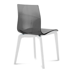Domitalia - Gel-L Chair - Transparent Smoke - White Mat Lacquered Frame - Set of 2 - Domitalia's Gel-L chair is simple and sleek, a natural companion to nearly any modern table. A transparent or opaque glossy seat adds a playful contrast to the solid ashwood frame in a natural or white lacquer finish. The plastic shell is available in seven color options: Transparent Orange, Transparent Blue, White, Transparent Smoke, Black, Transparent Red or Transparent Green. Sold only in sets of 2.