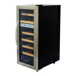 New Air - Thermoelectric Wine Cooler - Dual temperature control. Thermoelectric cooling technology. LED lighting. Digital temperature display. Stores up to 21 bottles of wine. Locking doors. Wood wine rack construction. 7 wine racks. . 32 in. L x 20 in. W x 14 in. H (47 lbs)The NewAir AW-211ED dual zone thermoelectric wine cooler  is compact enough to fit conveniently in even the tightest places and holds up to 21 bottles of your favorite vintages. The sleek black and stainless steel design complements your wet bar, den, kitchen or dining room too.