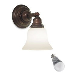 Design Classics Lighting - Single-Light Sconce with Bell Shade and LED Bulb - 671-30/G9110 8W  LED - Mission / mackintosh bronze 1-light sconce with 9.5-watt LED light bulb, equivalent to 60-watts incandescent. Mission styling with a medium bronze finish make this sconce the perfect choice for any room. Features a medium base with white diffuser and vented heat sink. Takes (1) 9.5-watt LED A19 bulb(s). Bulb(s) included. Dry location rated.
