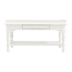 Stanley - Coastal Living Retreat Sand Box Cocktail Table, Saltbox White - Stylish, faux-tray top table has all the unexpected charm of a Nantucket weekend. Treasure drawer and stationary lower shelf make a casual spot for collectibles.