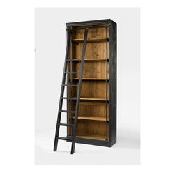 Four Hands - Ivy Bookcase and Ladder - Balancing dramatic scale with flea marketing-find design, the Irondale Collection offers storage solutions embellished with iron and brass details that resemble libraries of the 1940's and provide smart and stylish organization for any room. This item comes standard with free in-home delivery.