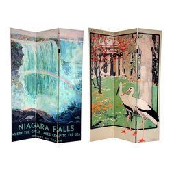 Oriental Unlimted - Reversible 6 ft. Tall Niagara Falls Canvas Ro - One double-sided divider, both sides shown in image. Get away from it all with this stylish pair of late 19th and early 20th century art deco/art nouveau travel posters. On the front is a lovely, stylized print of London's famous Royal Botanical Gardens, Kew, at the turn of the century. The back features an attractive graphic art rendering of the American side of Niagara Falls by artist Frederic Madan. Both of these beautiful landscape paintings will bring conversationally interesting elements to your living room, bedroom, dining room, kitchen or place of business. This 3 panel screen has different images on each side. High quality wood and fabric covered room divider. Well constructed, extra durable, kiln dried Spruce wood frame panels, covered top to bottom, front, back and edges. With tough stretched poly-cotton blend canvas. 2 Extra large, beautiful art prints - printed with fade resistant, high color saturation ink, creating 2 stunning, long lasting, vivid images, powerful visual focal points for any room. Amazingly inexpensive, practical, portable, decorative accessory. Almost entirely opaque, double layer of canvas, providing complete privacy. Easily block light from a bedroom window or doorway. Great home decor accent - for dividing a space, redirecting foot traffic, hiding unsightly areas or equipment, or for providing a background for plants or sculptures, or use to define a cozy, attractive spot for table and chairs in a larger room. Assembly required. 15.75 in. W x 70.88 in. H (each panel)