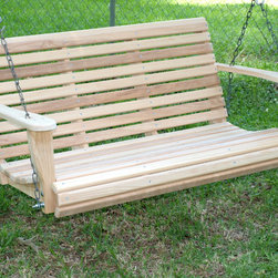 """Cypress Porch Swing - Built from 7/8"""" cypress with 1 1/2"""" slats, assembled using dacronized screws with zinc plated bolts for durability. 4 seat and back braces, a contoured seat and angled back make this swing very comfortable. Easily assembled (install 10 bolts) and complete with hardware for a standard porch installation. Available in four, five and six foot widths our Rolled Front Porch Swing stands the test of time. 5 foot swing price is $229.95, 6 foot swing price is $359.95. Free Shipping, 48 contiguous states"""