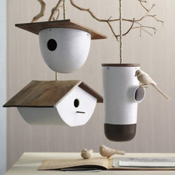 Bodega Birdhouse - I'm loving the simple, clean lines of these modern birdhouses. A few grouped together would look stunning.