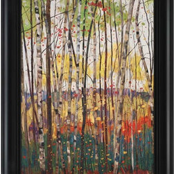 Paragon Decor - Voile de Montogne Artwork - A radiant forest of birch trees is textured and dimensionally framed.