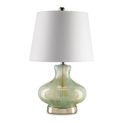 Currey and Company - Bellwether Table Lamp - A fabulous smoky Spring Green finish accompanies this blown glass table lamp's nickel base. The Bellweather lamp features a wonderful White Parchment shade and polished nickel finial. It's both stylish and curvaceous.