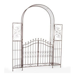 Belham Living Gated Hodgson Garden Metal Arbor with Planter Stands - Add some ornate elegance to your garden with the Belham Living Hodgson Garden Metal Arbor with Gate and Planter Stands. This beautiful arbor features elegant scroll work along the sides front and along the gate. Oh yes it has a gate making it the perfect entrance to your garden. Along the arbor's sides are stands for planters so you can ornament this lovely piece with the flowers and plants of your choice. Crafted durably from metal this arbor comes with stakes for installation. Some assembly required. Dimensions Gate dimensions:22.5W x 42.5H inches Planter stand dimensions: 13D x 62.5H inches Clearance to ground (from bottom of gate): 3.75H inches Overal dimensions: 74W x 14D x 94H inches About Belham Living Belham Living builds catalog-quality furniture in traditional styles at a price that actually makes sense. By listening to our customers and working closely with great manufacturers we build beautiful pieces worthy of your home. Rich wood finishes attention to detail and stylish lines that tie everything together are some of the hallmarks of a Belham Living piece. From the living room or bedroom through the kitchen and out onto the deck there's something from an incredible Belham collection perfect for your style.