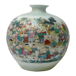 Golden Lotus - Asian Chinese White Porcelain Color 100 Kids Vase - This porcelain vase has a simple white porcelain base color and colorful graphic of 100 kids gathering scenery.