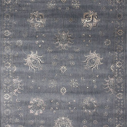"Loloi - Loloi Mystique MY-03 (Charcoal) 9'8"" x 12'8"" Rug - The power-loomed Mystique Collection from Egypt is an exciting polypropylene/viscose line that offers the sophisticated look of aged, hand-knotted rugs but at a value price. Mystique's transitional and traditional designs benefit from viscose accents, which play off of the highlights and shadows of each pattern. The result is a series of traditional designs that look like true, worn antiques, and a selection of transitional pieces that have richness, depth and refinement. This is a must-see collection that can help make your margins when priced right."